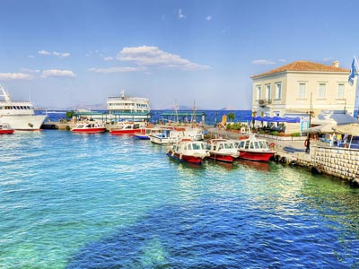 blue waters of the spetses port